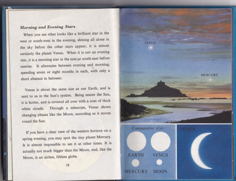 excerpt from the Nightsky (a Ladybird book). One page of text, one page illustrating the morning and evening stars