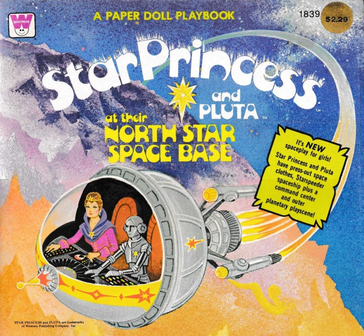 cover part of paper-doll book. Star Princess and Pluta at their North Space Base. Drawing of both characters in spaceship flying