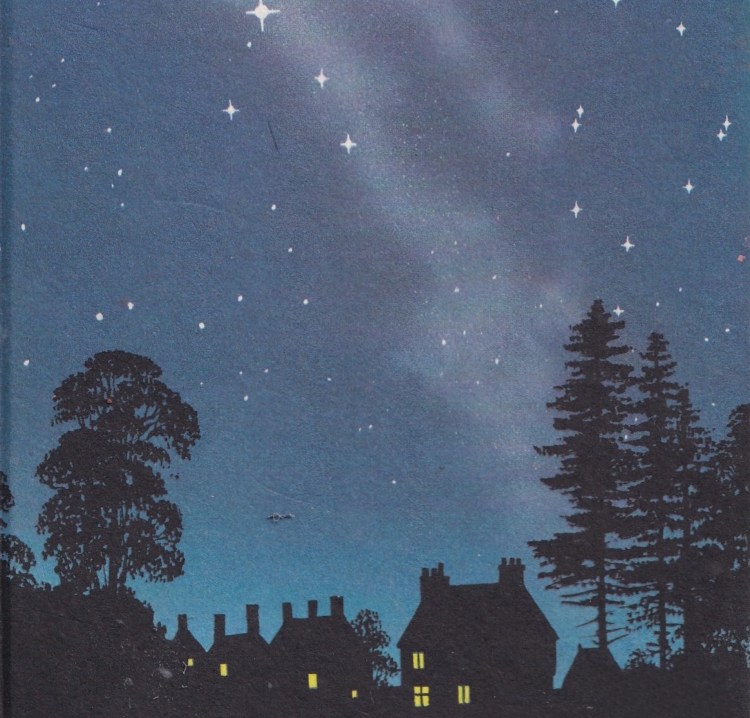 drawing of night-sky with some houses and trees silhouetted in black