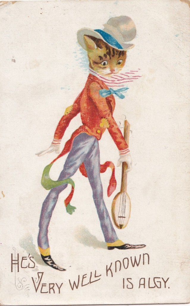 1907 postcard showing a drawing of a cat in dandy'ish clothes. Underneath the text states He's very well known is Algy - which is a line from a popurlar music hall song of that time.