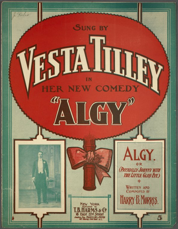 cover for sheet music of 'Algy' - a song by Vesta Tilley - early 20th century