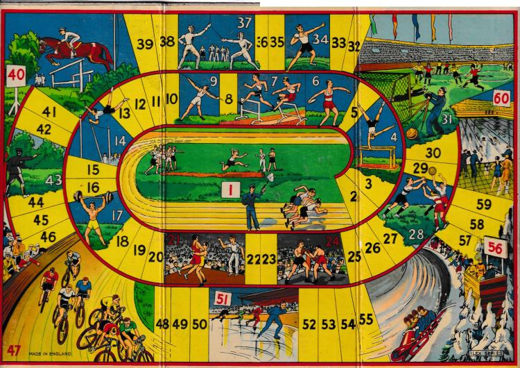 image of board game of Olympic Games, showing a variety of sports and 60 spots to land on. Print pasted on cardboard. Landing spots in yellow, olympic sports in various colours.