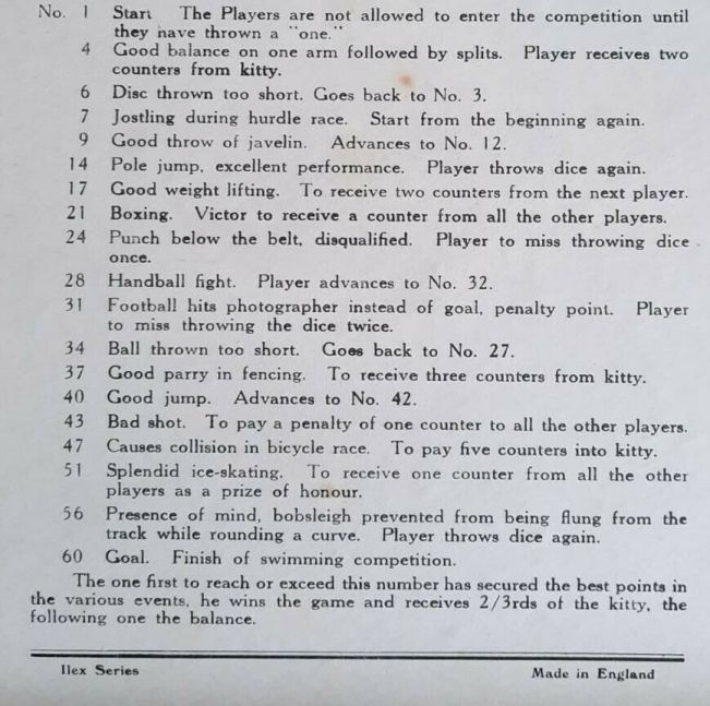 rules for 'olympic games' board game by R Turner Ltd. Ilex-Series, 1938