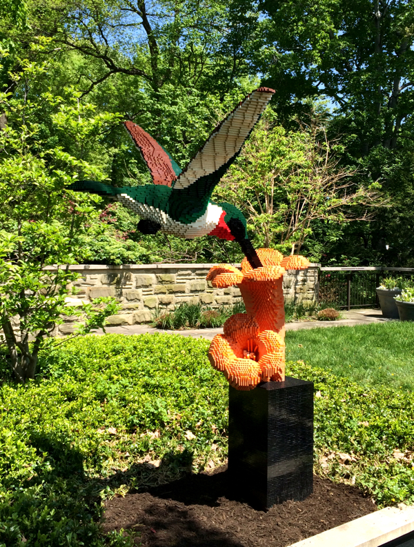 Large hummingbird made from Lego at the Cleveland Botanical Gardens