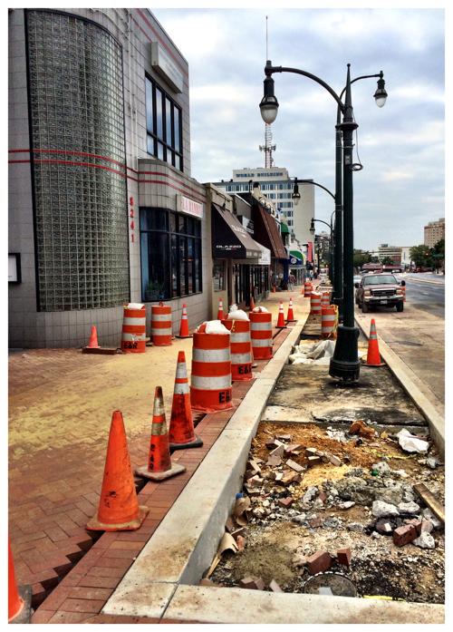 Sidewalk construction on Geogia Avenue in Silver Spring, Maryland