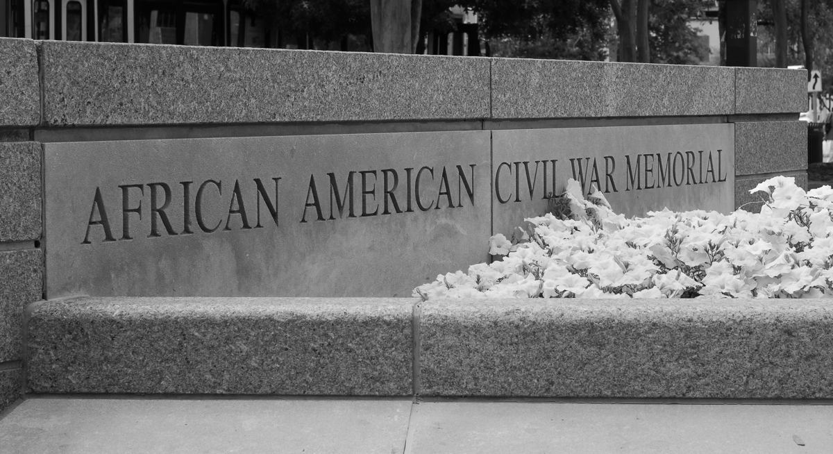 African American Civil War Memorial sign on U Street in Washington DC