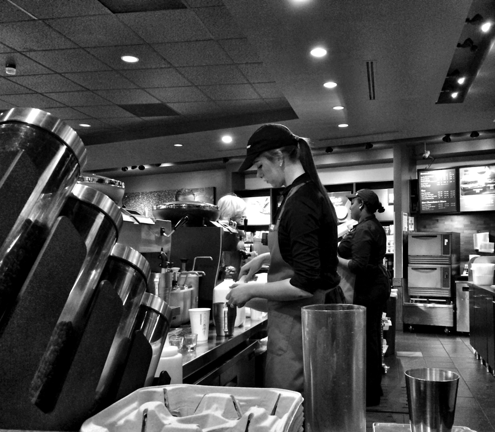 A constant flow of coffees to be made at a Starbucks in Bethesda, Maryland
