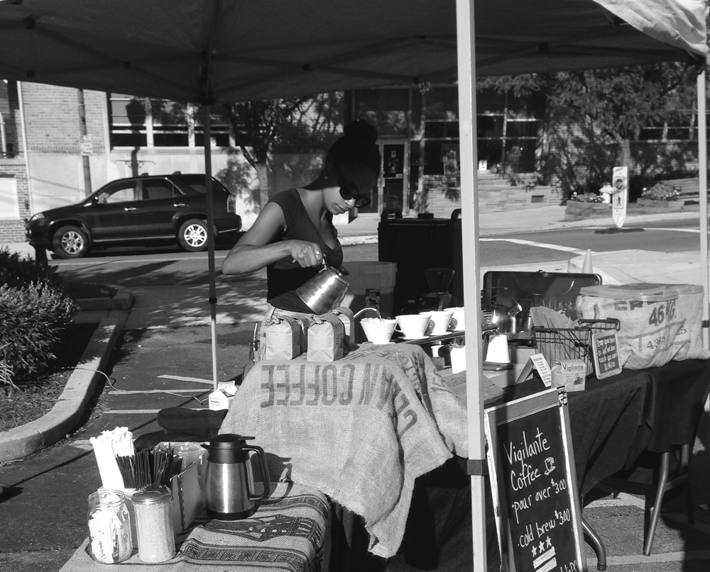 Vigilante Coffee stand at the Kensington Farmers Market in Kensington, Maryland