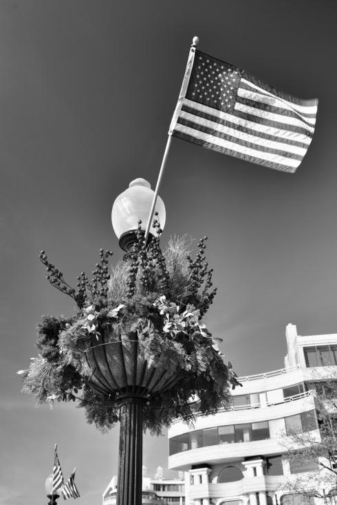 US flag on lamppost