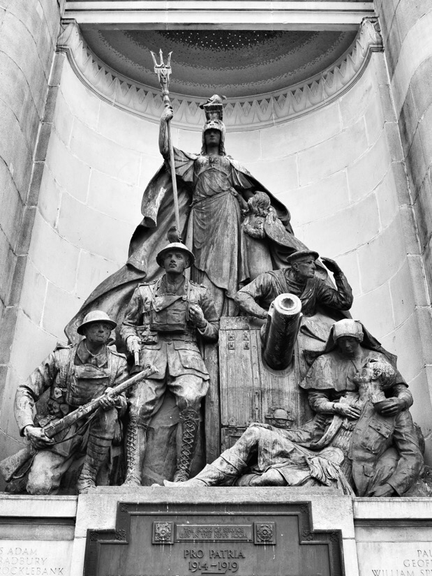 World War I memorial in exchange flags, Liverpool, England.