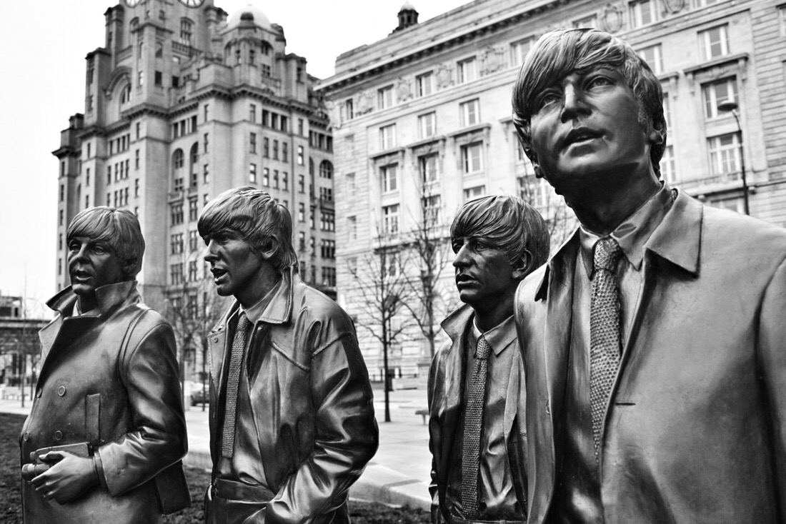 The Beatles statue at the Pier Head in Liverpool, England