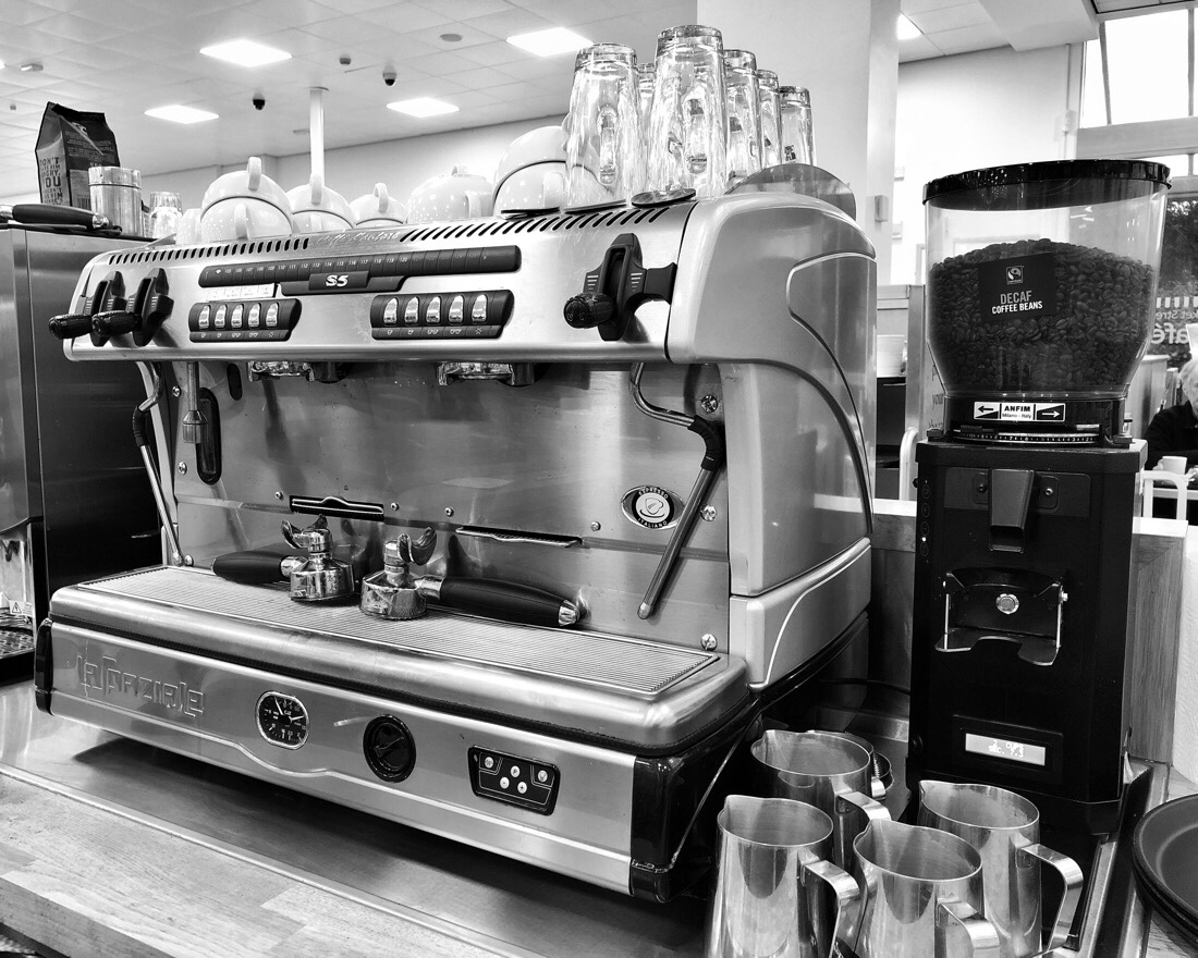 Coffee machine at Morrison's coffee shop in Southport.