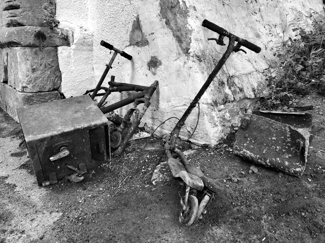 Bikes and scooters dumped on the path of the Leeds Liverpool canal in Netherton, Merseyside