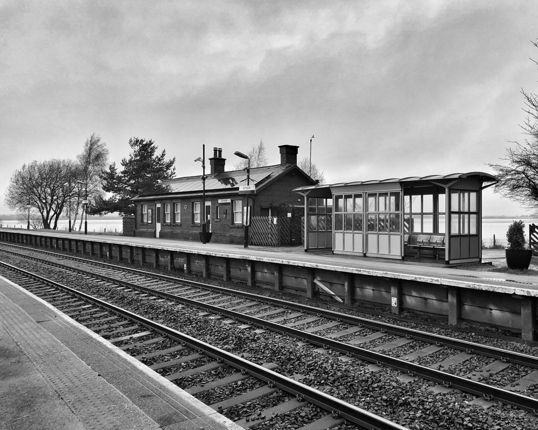 Arnside Station on the Furness Line around the Lancashire coast in the North West of England