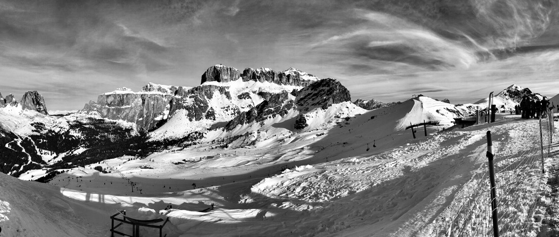 Panoramic view from the Col dei Rossi and Pecol areas in the Dolomite mountains in Italy.