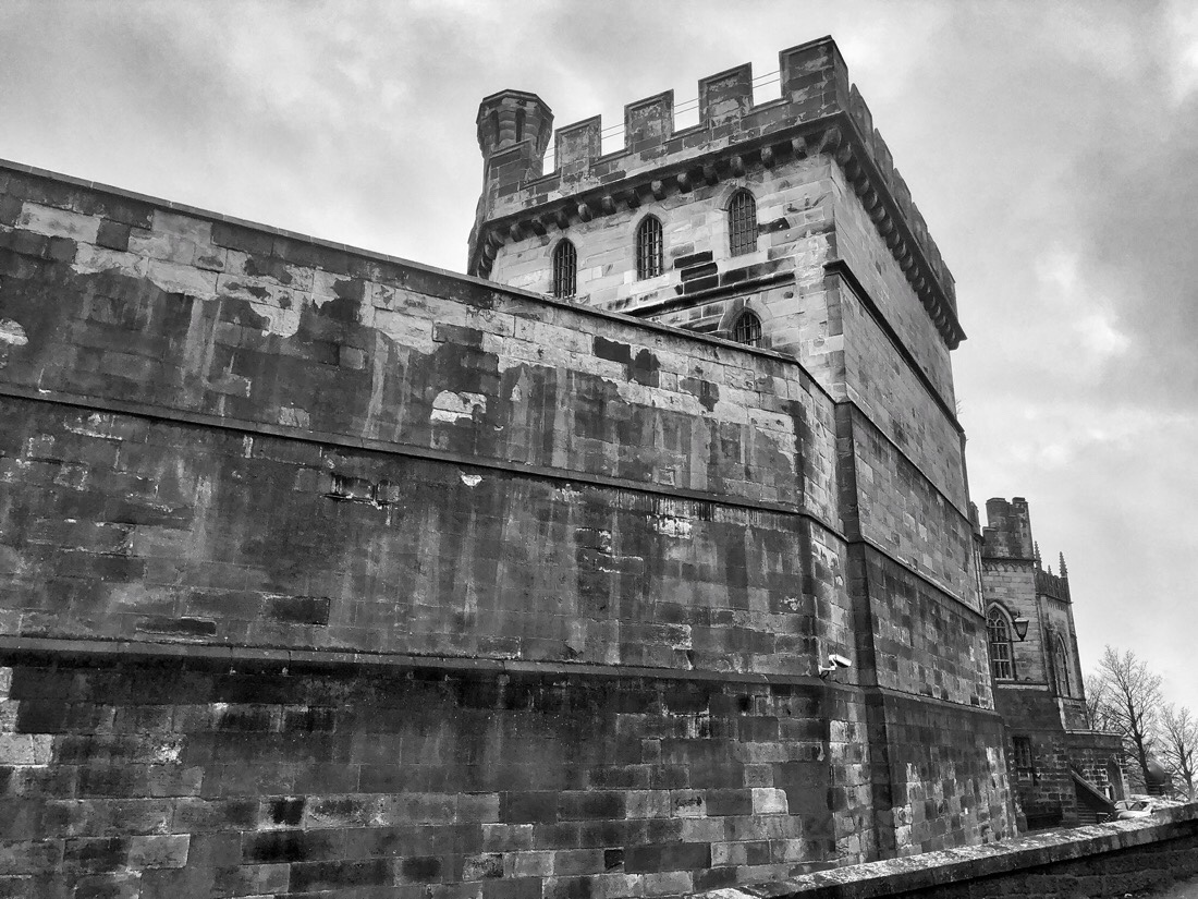 The outside walls of Lancaster Castle in Lancaster, Cumbria