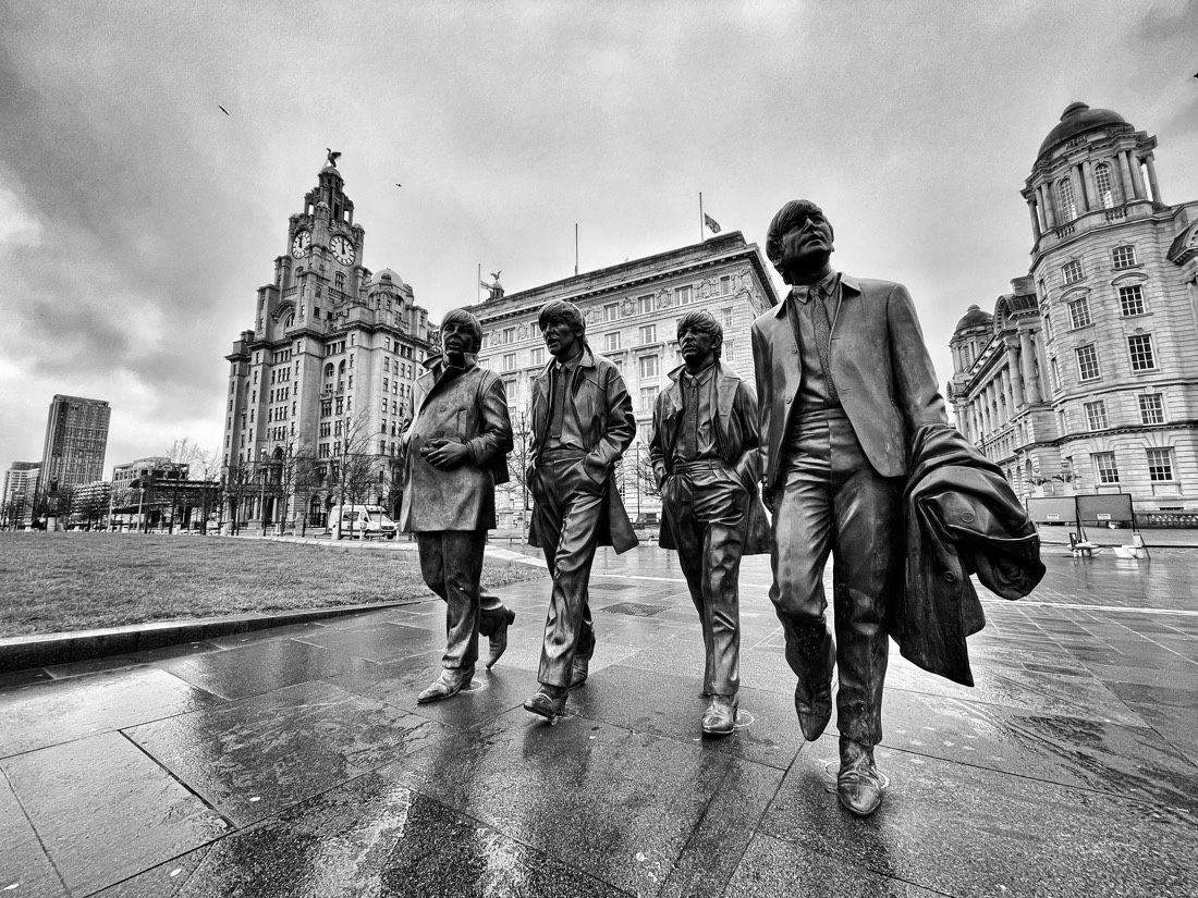 A Sunday morning walk at the Pier Head in Liverpool