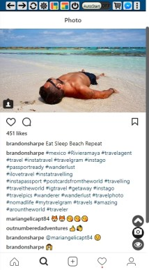 Instagram post of man sunning on a sandy beach