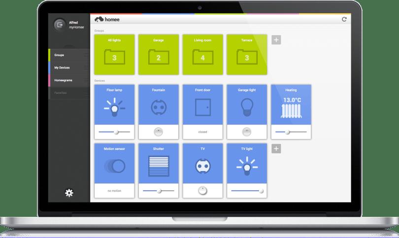Homee Interface auf MacBook