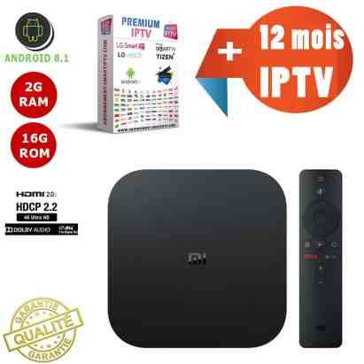 Boitier IPTV TV Box XIAOMI MI BOX S / 2GB RAM + 8GB ROM Android 8.1 Quad Core + 12 mois d'abonnement Premium IP TV