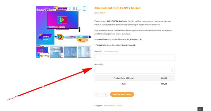 Duplexplay codes achat Smart iPTVS.com