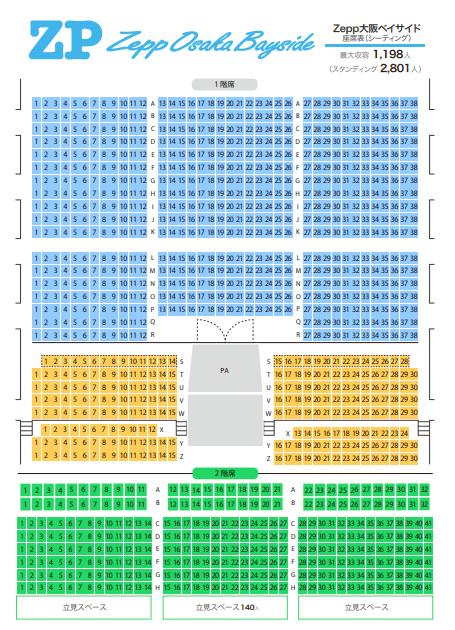 Zepp大阪ベイサイドの座席表やキャパは?