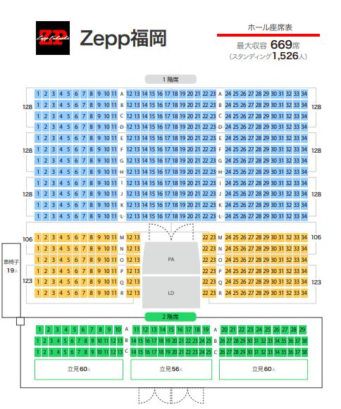 Zepp福岡の座席表やキャパは?