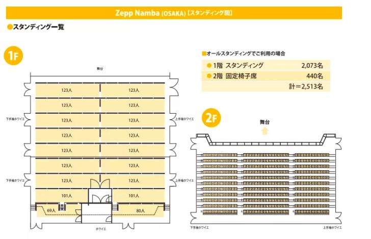 Zeppなんば大阪の座席表やキャパは?