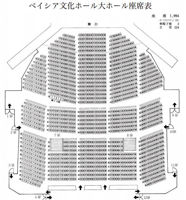 ベイシア文化ホール大ホールの座席表とキャパは?