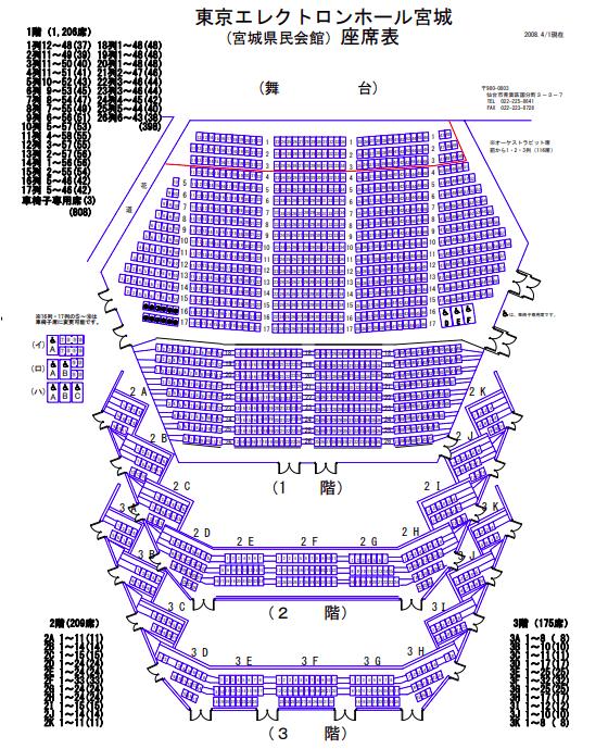 東京エレクトロンホール宮城の座席表とキャパは?