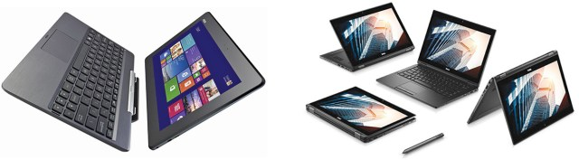 Two-in-one laptops: (a) with detachable screen (b) foldable 360-degree screen with Wacom pen