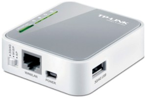 Various ports and switches on TP-Link TL-MR3020