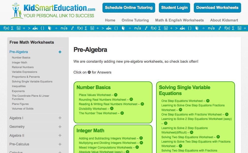 Algebra Worksheets Year 7