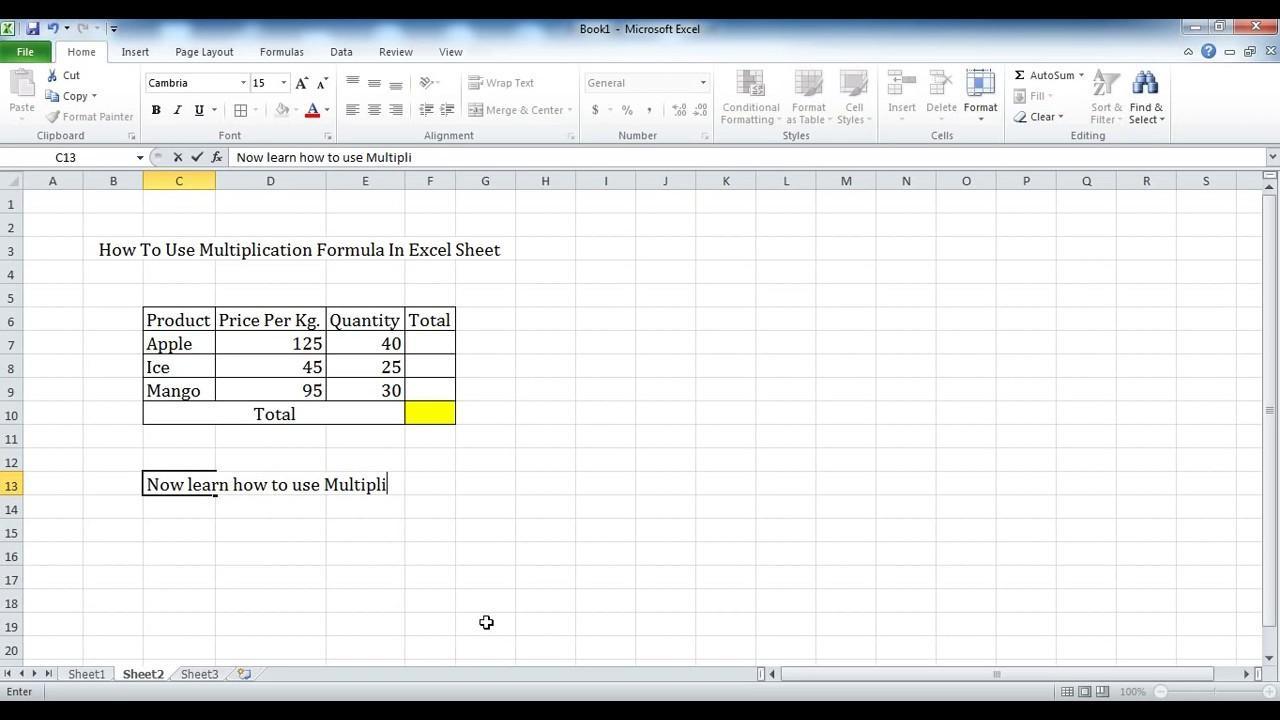 Multiplication Worksheets Excel 4