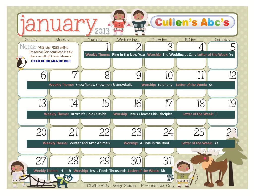 January Preschool Worksheets 7