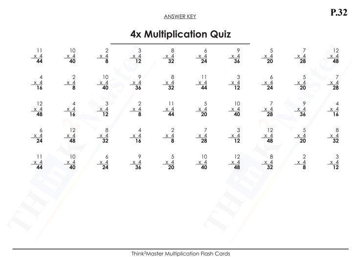Multiplication Quiz Worksheets 1-12