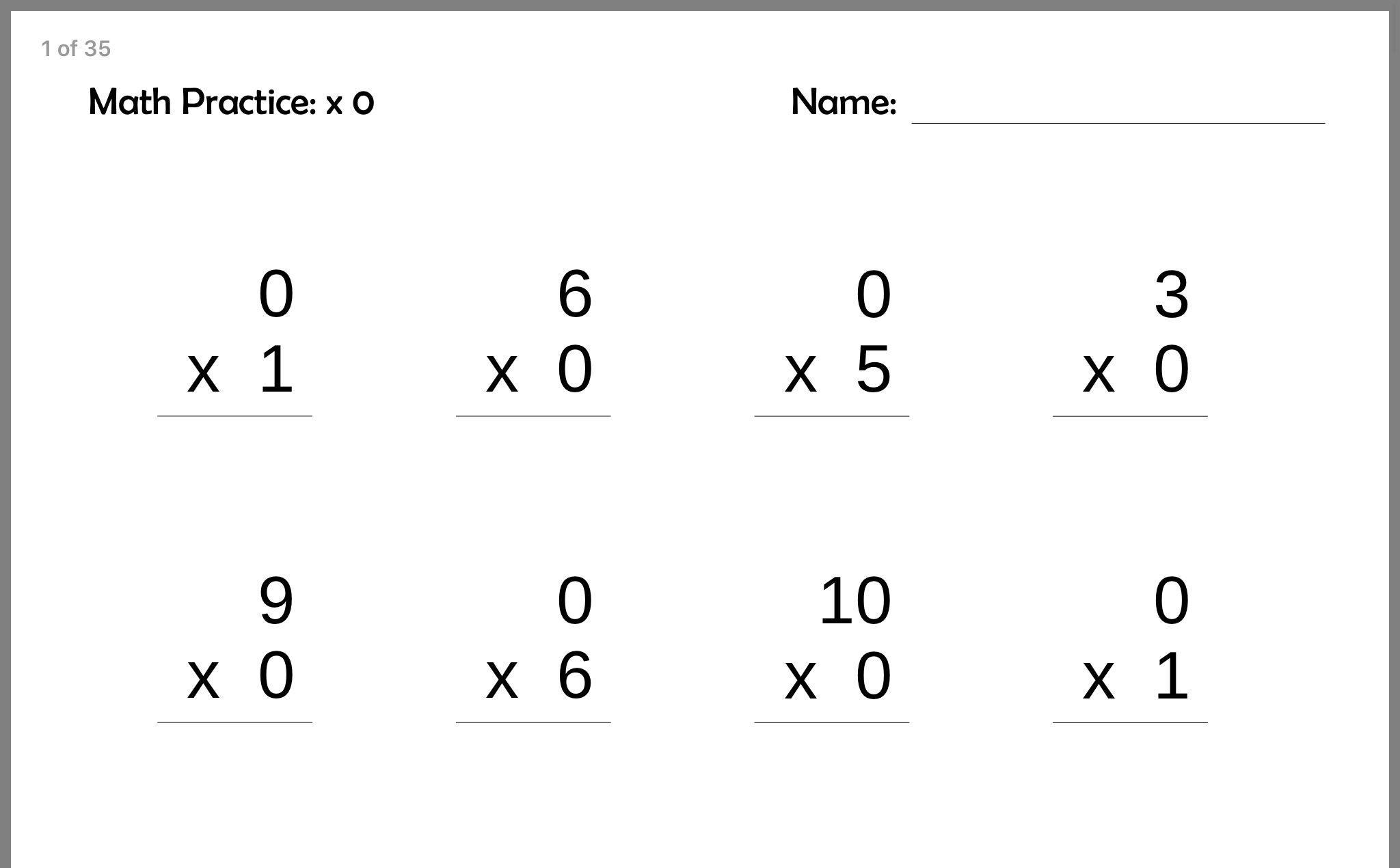 Multiplication Test Printable 3rd Grade