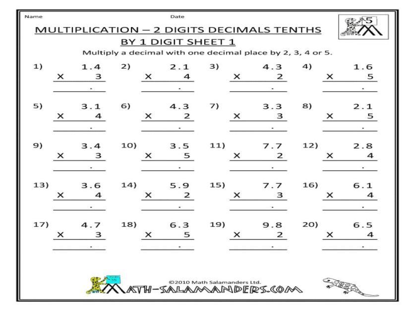 Multiplication Worksheets 2 Digit By 1 Digit
