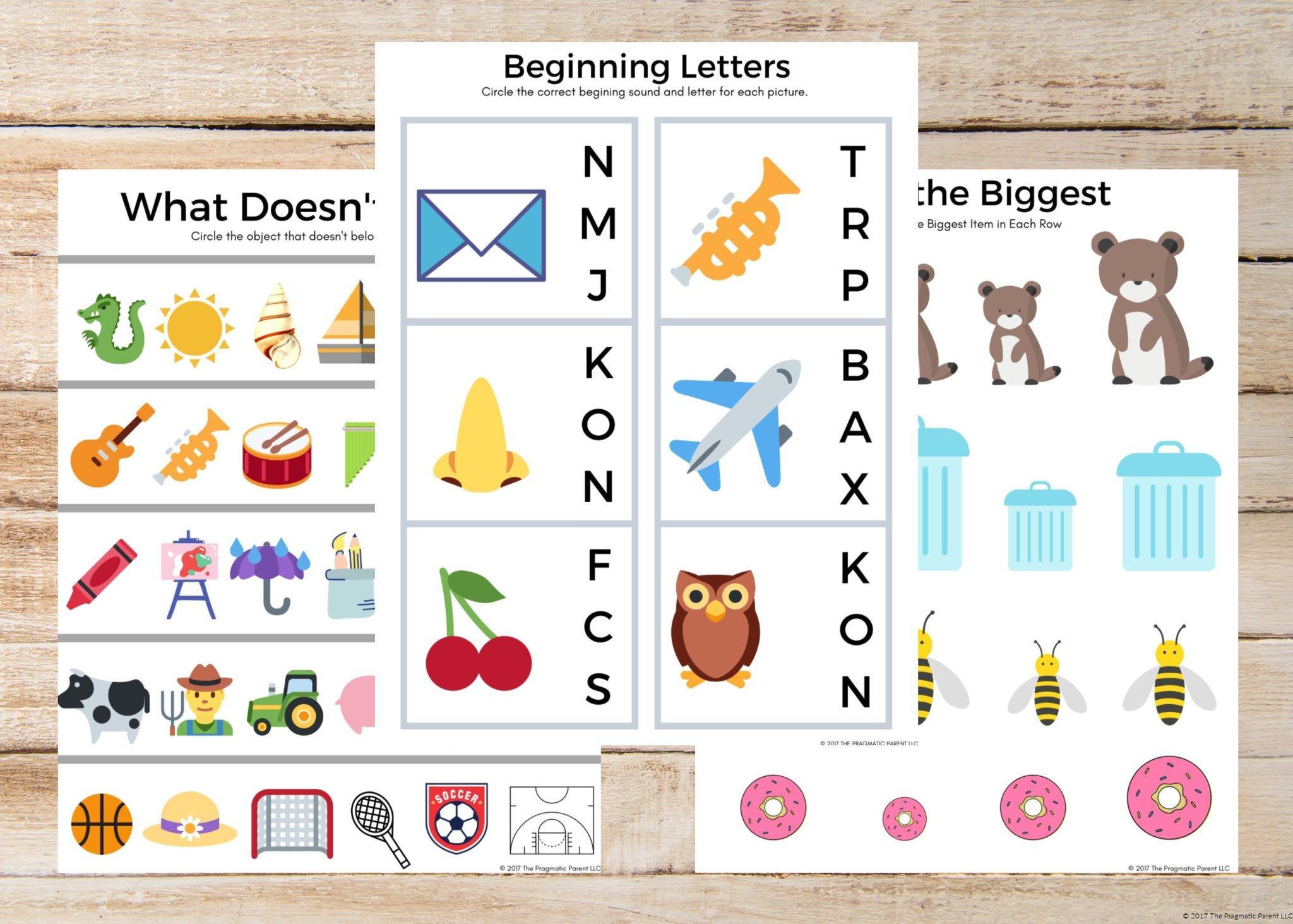 Preschool Worksheets Bundle 2