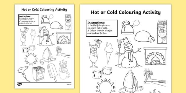Preschool Worksheets Hot And Cold 2