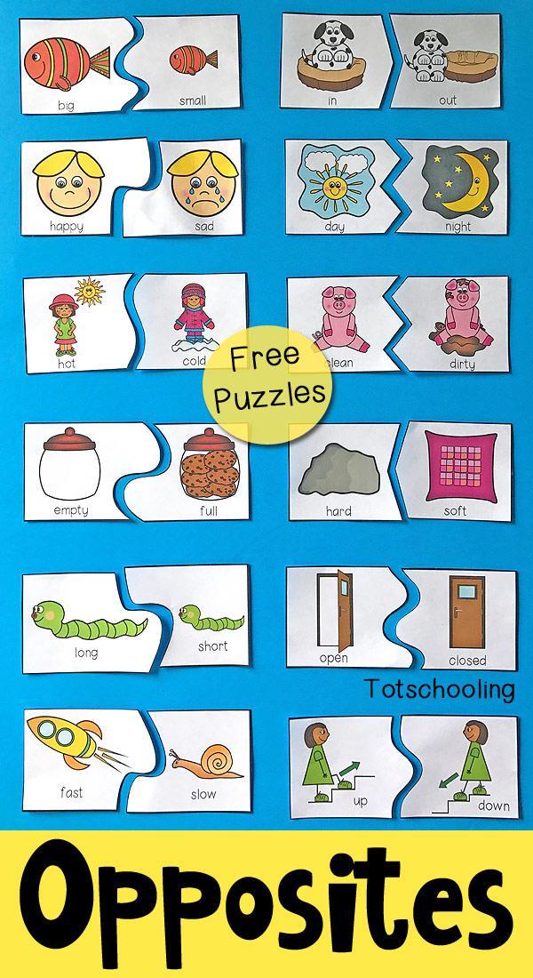 Free Printable Preschool Worksheets Opposites