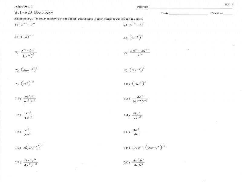 Math Worksheets Negative Exponents