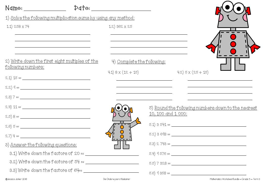 Mental Math Worksheets For Class 5