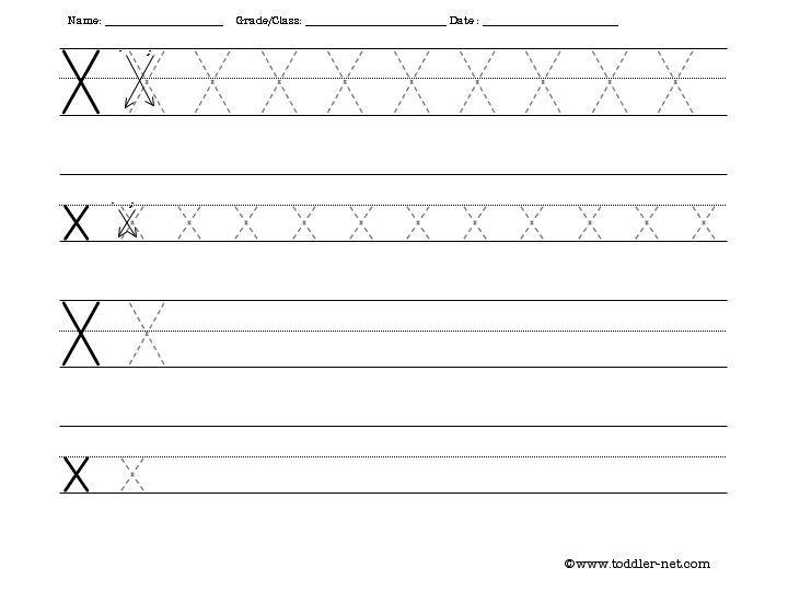 Preschool Alphabet X Worksheet 2
