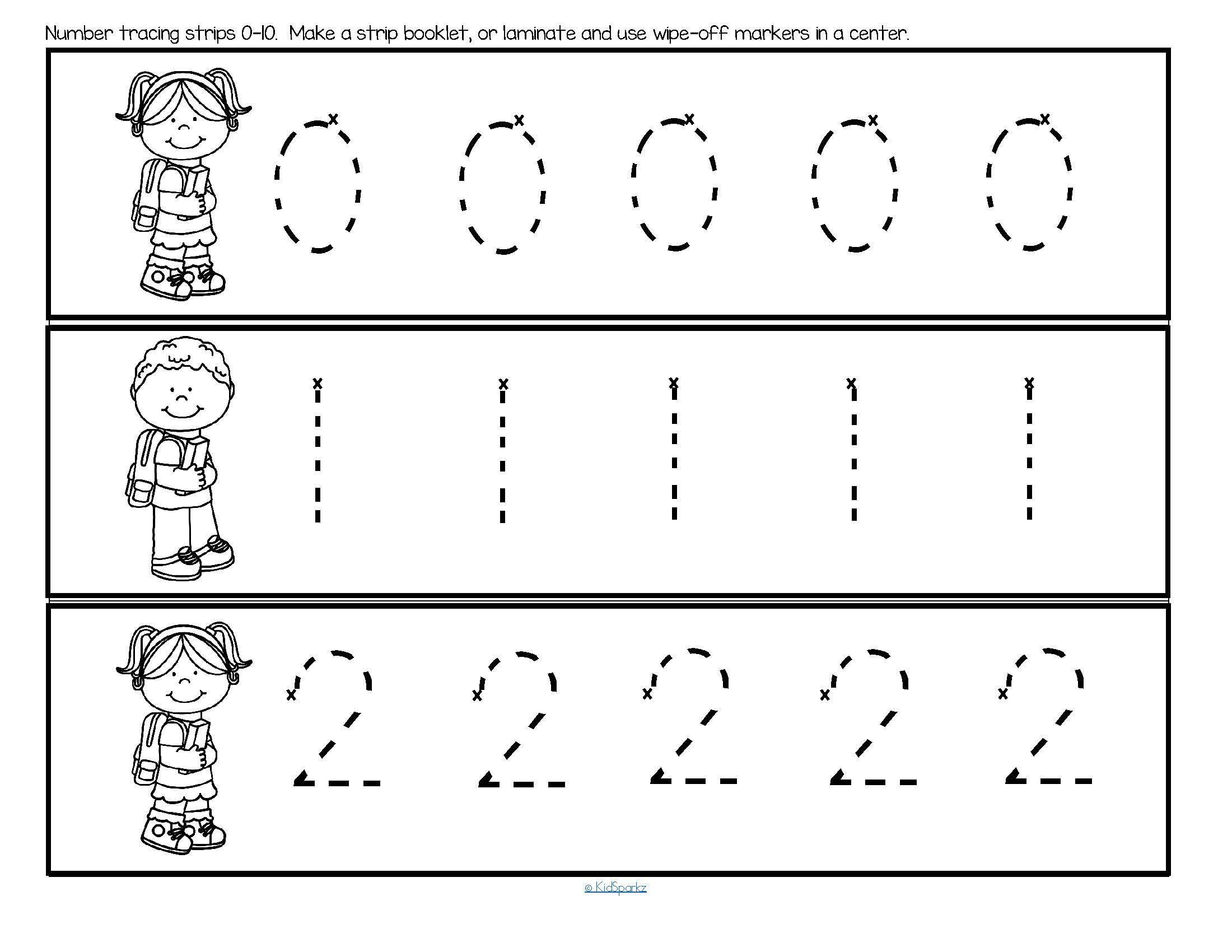 Preschool Worksheets Number Tracing 1