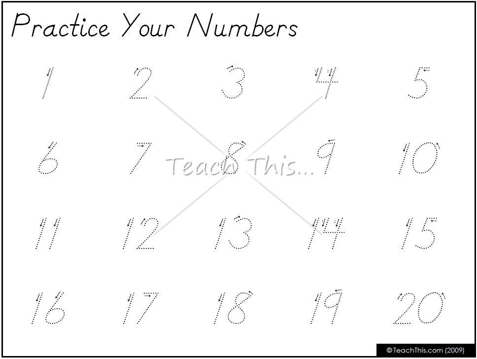 Preschool Worksheets Numbers 1-20 6