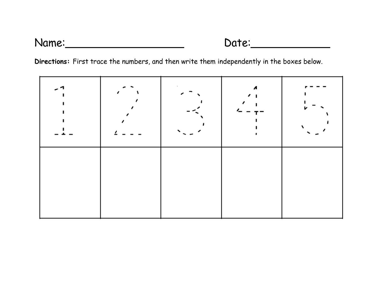 Preschool Worksheets Writing Numbers 1