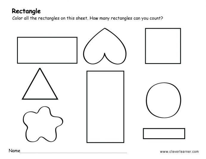 Worksheets On Rectangle For Preschool 3