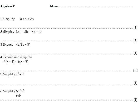 Algebra Substitution Worksheets Year 7 Pdf