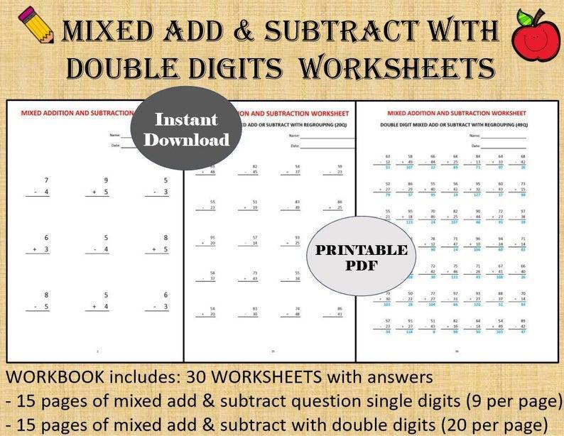 Algebra Worksheets Addition Subtraction 1